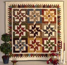 "This design called ""Stars of Autumn"" if from the book Scrap Basket Sensations by Kim Brackett.  I made this for myself in Sept 2012"