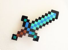 Minecraft Diamond Sword made with Perler Beads- Would make a great room decoration