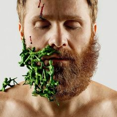 Man Shaves Half His Beard Off, Fills in the Empty Space with Other Objects - Adrian Alarcon