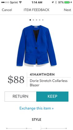 I like the color, there is nothing else about this I like. This is the first item I have actually hated. The fabric seems cheap and old ladyish. Collarless blazers do not look good on me. This did not work with my chest. This was awful. Received in Fix #44. RETURNED.