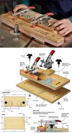 Pattern Routing Jig - Router Tips, Jigs and Fixtures - Woodwork, Woodworking, Woodworking Tips, Woodworking Techniques Woodworking Hand Tools, Wood Tools, Woodworking Workshop, Woodworking Techniques, Woodworking Bench, Diy Tools, Woodworking Projects, Woodworking Supplies, Woodworking Jigs