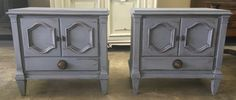 "Here are is a gorgeous pair of nightstand! Painted distressed grey so they will go with any bedroom set. What do you think?  The dimensions are 26"" L, 16.5"" W, 24.5"" H. SOLD!! for $275 https://www.pinterest.com/shabbychictexas/my-shabby-chic-nightstands/"