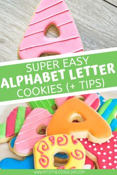 These alphabet letter cookies are really easy to make and these colorful cookies are perfect to make with kids. Enjoy these alphabet cookies tutorials which include decorating tips for different ways you can decorate alphabet cookies with royal icing. Cookie Recipes For Kids, Best Cookie Recipes, Dessert Recipes, Alphabet Cookies, Alphabet Letters, Sugar Cookie Dough, Sugar Cookies Recipe, Colorful Cookies Recipe, How To Make Cookies