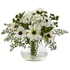 Mixed White Daisy Arrangement w/Vase-This beautiful arrangement of delightful daisies is lovingly placed together in a beautiful vase. The color of the blooms burst forth from a gorgeous backdrop of stems and leaves, and the striking vase (complete w Flower Arrangements Simple, Silk Floral Arrangements, Deco Floral, Arte Floral, Faux Flowers, Silk Flowers, Spring Flowers, Daisy Flowers, Cactus Flower
