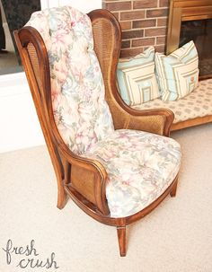 I found a pair of fantastic, but beat up and outdated, arm chairs online. Because of the wood frame I knew (or at least, hoped) the reupholstery job would be gr�