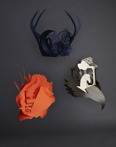 """Paper headdresses created for Hermes summer party """"Metamorphose"""" Each headdress folds and interlocks without the need for glue Cardboard Sculpture, Cardboard Art, Uses Of Paper, Fun Crafts, Paper Crafts, Jacky Winter, Origami, Paper Clothes, Sculptures"""