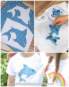 DIY T-Shirt Painting- with Freezer Stencil Paper &; The Kitchen Table Classroom DIY T-Shirt Painting- with Freezer Stencil Paper &; The Kitchen Table Classroom Elena Bachert elenabachert Textildesign This DIY painted t-shirt […] painting summer Free Stencils, Stencil Templates, Stencil Diy, Stencil Table, T Shirt Stencils, Stencils For Kids, T Shirt Painting, Fabric Painting, Diy Painting