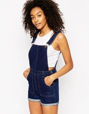 ASOS Denim Festival Dungaree Short with Rolled Hem in Rich Blue