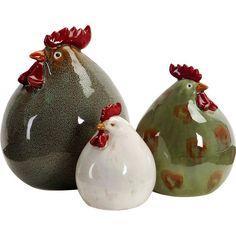 3-Piece Chickens Statuette Set