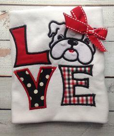 Custom+Georgia+Bulldog+Love+applique+shirt+or+by+littleredwagonamy,+$21.00