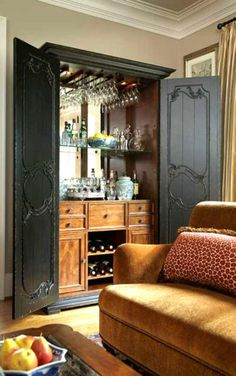 Our entertainment centers could be painted and converted into a bar like this one! 43 insanely cool basement bar ideas for your home Diy Home Bar, Bars For Home, Bar Armoire, Basement Bar Designs, Basement Ideas, Repurposed Furniture, Dining Furniture, Furniture Stores, Furniture Makeover