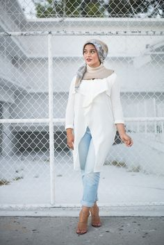 AboutThatWrap: Haus of Blush zipper collar and all white outfit