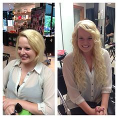 Before and after of extensions. Hair by Jayma