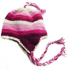 64c609fb0e9 Amazon.com   Nepal Hand Knit Bhuddist Flag Sherpa Hat - Premium Cold  Weather Hat with Ear Flaps   Soft