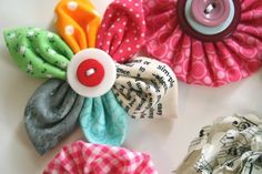 Button & fabric flowers