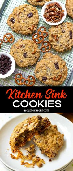 Sweet meets savory and brings crunchy along for fun in these ultimate Kitchen Sink Cookies! Crispy edges with a chewy center make these cookies unbelievably delicious. Add a sprinkle of sea salt to finish them off for the perfect unexpected treat bite after bite. Holiday Cookie Recipes, Healthy Dessert Recipes, Easy Desserts, Baking Recipes, Delicious Desserts, Vegan Recipes, Yummy Food, Bar Recipes, Popular Cookie Recipe