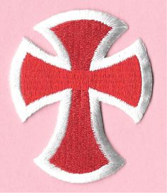"""Cross - Christian - Embroidered Red & White Iron On Applique Patch - 2  3/4""""H"""