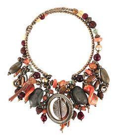 Look at this #zulilyfind! Coral & Green Multi-Bead Bib Necklace #zulilyfinds