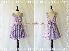A Party Dress V Shape Blue Heart Print by LovelyMelodyClothing, $48.30