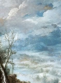 Francisco Collantes - Paisaje de invierno con la Adoración de los Pastores (1630-50) Cloud Art, Pastel Watercolor, Spanish Painters, Sky And Clouds, Painting Inspiration, New Art, Painting & Drawing, Street Art, Tempera