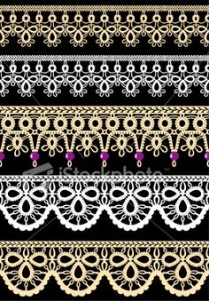 Vector illustation of seamless lace trim borders. 3 different elegant. Vector illustation of seamless lace trim borders. 3 different elegant designs in cream and white colors. Colors can easily be changed with vector editing software. Border Embroidery Designs, Embroidery Patterns, Damask Decor, Needle Tatting Patterns, Tatting Tutorial, Lace Painting, Lacemaking, Tatting Lace, Lace Patterns