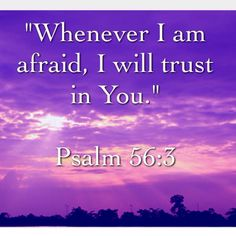"""Whenever I am afraid, I will trust in You."" ~Psalm 56:3  •Lord, please help me to trust in You with all my heart!"