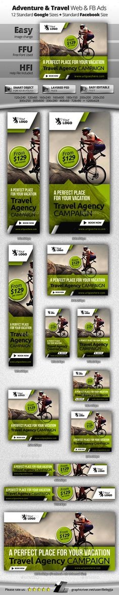 Travel Web & Facebook Banners - Banners & Ads Web Elements