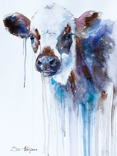 """Cow watercolor painting print 8"""" x 12"""" , animal, illustration, animal watercolor, animals paintings, animals, portrait, farm on Etsy, $26.86 CAD"""