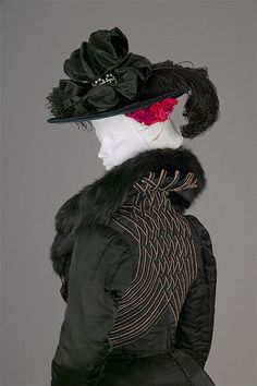 1900 Black ribbed silk day ensemble trimmed with fox fur and lined with wool crepe, designed by Mon. LaFerrière for Bertha Honoré Palmer, who represented the U.S. at the Paris Exposition of 1900. She was photographed in this suit on the eve of her departure for France.
