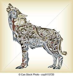 オオカミのイラスト参考