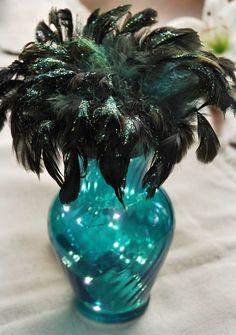Peacock Feather Bird Nest...wedding reception table centerpieces!