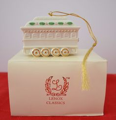 "Lenox Ivory China Holiday Classics Caboose -  2000 Christmas Ornament  2"" x 3"" #Lenox"