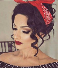 Vintage up do with loose curls