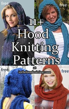 Knitting Patterns for Hoods, Hooded Scarves, and Hooded Cowls. Most patterns are free