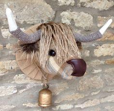 Handgemachte Highland Kuh Kopf faux Präparatoren natürliche und Beige überprüfte Tweed Stoff Wand tierischen Kopf Trophäe