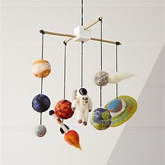 Our Solar System Shop Solar System Mobile. With our solar system mobile in your orbit, you'll have the most stellar nursery decor in the universe. It features a painted wood frame with planets, a spaceship and an astronaut made from wool. Outer Space Nursery, Space Themed Nursery, Nursery Decor, Nursery Ideas, Space Theme Rooms, Nursery Themes For Boys, Room Ideas, Baby Boy Nursery Themes, Baby Decor