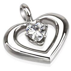 Pendentif coeur et zirconium blanc VerPendentif avec un coeur orné d'un zirconium blanc, acier stainless stell, diamètre de 20mm.  Vendu sans chaîne.