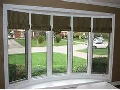 Blinds on bow window Bow Window Curtains, Bay Window Blinds, Interior Window Shutters, Blinds For Windows, Windows And Doors, Bow Windows, Valance, Bow Window Treatments, Window Treatments Living Room