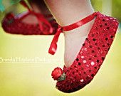 SWEET RUBY RED Sparkle Baby Shoes - Ballet Style With Ruby Ankle Ties For Infants And Toddlers - Wizard of Oz Shoes