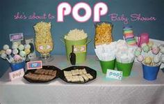 """she's about to """"pop"""" baby shower theme"""