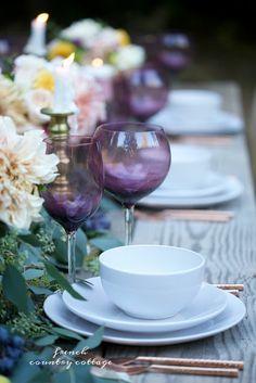 Elegant autumn copper & amethyst table under the stars