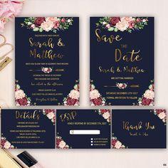 romantic wedding invitation marsala floral wedding
