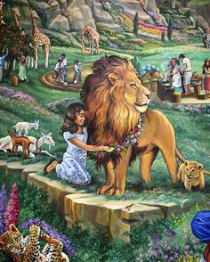 "I rarely post photographs of paintings. I feel the art has already been created and I don't want to try to ""recreate"" what an artist has done. Anyway, there are stunning murals at the Plant City Assembly Hall here in Florida. This is a small section of a beautiful paradisiac painting. I was drawn to the beautiful girl playing with the lion. Just a little while longer!!!"