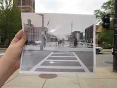The view looking south at Wisconsin Avenue and 14th Street before Raynor Library was built.