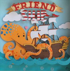 What does friendship mean to you? If you're thinking of a giant octopus hugging a ship then you'll love this papercut by Cameron + Whitney. Despite being a (much more affordable) print of the origi...