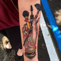 15 Impossibly Cool Beauty-Inspired Tattoos #refinery29 http://www.refinery29.com/beauty-inspired-tattoos#slide-12 Stiletto nails? Check. Mascara and eyeliner? Double check. Gorgeous brushes? Triple check. ...