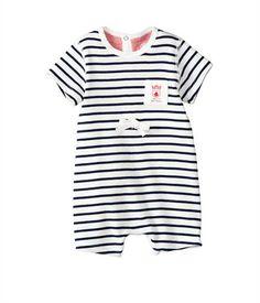 Combicourt bébé garçon en coton à rayure marinière