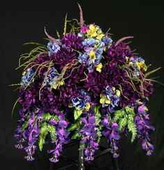 Grape and Blue Memorial Saddle, flowers, sympathy, grave, tombstone, monument, headstone