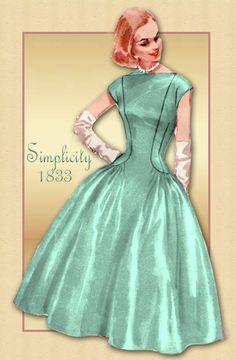 Einfachheit 1833 Vintage 1950er Jahre Kleid Muster wunderschöne Cocktail Party Kleid Bouffant voller Rock Abbildung umarmt Reiz und eine fabelhafte, swishy der 1950er Jahre voller Rock... Was ist um nicht zu lieben? Das Zentrum Mieder und Rock Center sind Schnitt-in-One. Oben auf dem Mieder hat Prinzessin Nähte geändert, die in den Rock Kurve wo die sehr weiten Rock Seitenteile angebracht sind. Kimono-Ärmeln sind Schnitt-in-One mit den Seitenteilen Mieder. Bateau (Sabrina) Ausschnitt…