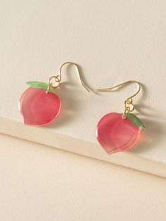 Peach Charm Drop Earrings   ROMWE USA